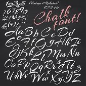 Vector alphabet.  Chalk font on blackboard background