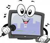 Mascot Illustration of a Karaoke Machine Singing