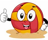 Mascot Illustration of a Beach Volleyball Giving a Thumbs Up