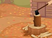 Cropped Illustration of a Person Chopping Logs Outside a Log Cabin