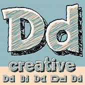 Vector set of funny sketch alphabet. Vector illustration of hand drawing font. Letter D