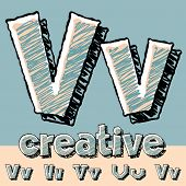 Funny sketch alphabet. Vector illustration of hand drawing font. Letter V