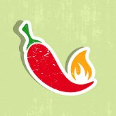 stock photo of red hot chilli peppers  - Vector red hot chilli pepper label grunge design - JPG