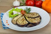 stock photo of aubergines  - Grilled aubergine with salad leaves and dill - JPG