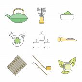 various colored outline japan tea ceremony equipment icons set