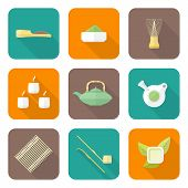 various color flat style japan tea ceremony equipment icons set