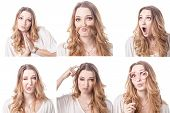 picture of emoticons  - Collage of woman different facial expressions emotions and emoticons - JPG