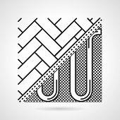 Black line vector icon for underfloor heating