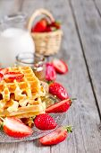 Waffles With Strawberry Abd Honey