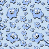 Funny cartoon monster seamless pattern