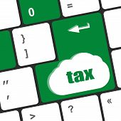 Tax Word On Laptop Keyboard Key, Business Concept,
