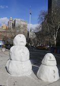 Snowman figures at Madison Square in Manhattan