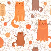 Seamless pattern with cute cats and balls of yarn.