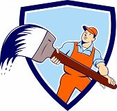 House Painter Giant Paintbrush Shield Cartoon