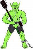 Orc Warrior Wielding Club Cartoon