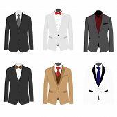 Set Of 6 Illustration Handsome Business Suit