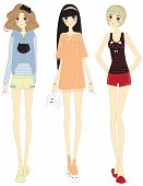 Stylish Cartoon Girls With Cute Clothings Set, Create By Vector