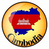 Orange Button With The Image Maps Of Cambodia