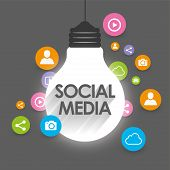 Viral marketing and social media concept with flat icon