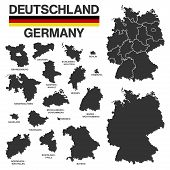 German Map With Regional Boarders - Federal States - High Details