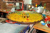 Large paella at snack bar, Marbella.