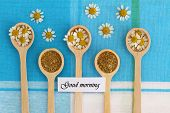 Good morning card with chamomile flowers on wooden spoons on checkered cloth