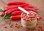 picture of red hot chilli peppers  - red hot chilli peppers on the wooden table  - JPG
