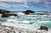 Beautiful Sea Landscape With Waves And The Cloudy Sky