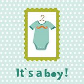 pic of bodysuit  - Baby boy card with bodysuit in a frame - JPG