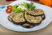 pic of aubergines  - Grilled aubergine with salad leaves and dill - JPG