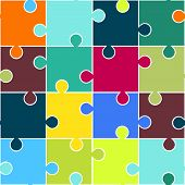 Puzzle seamless pattern. Teamwork concept background. Vector