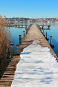 Wintry Boardwalk At Starnberg Lake, Germany