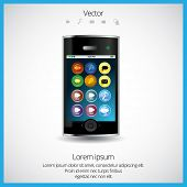 Mobile phone and colorful application icon, vector