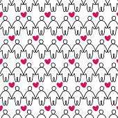 people with heart - seamless pattern