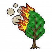 retro comic book style cartoon burning tree