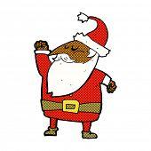 retro comic book style cartoon santa claus punching air