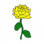 yellow rose retro comic book style cartoon