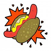retro comic book style cartoon hotdog