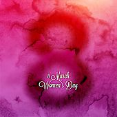 International Women's Day, 8 March. Smooth Watercolor Background, Blurred Digit 8 and Label for Holiday Design.