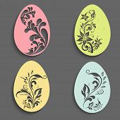 Colorful floral design decorated paper eggs set for Happy Easter celebration.