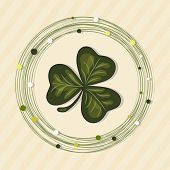 Shamrock leave in a circle frame for St. Patrick's Day celebrations.