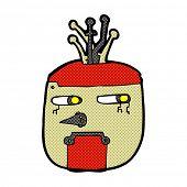 retro comic book style cartoon robot head