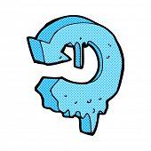 retro comic book style cartoon melting arrow symbol