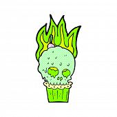 retro comic book style cartoon spooky skull cupcake