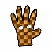 retro comic book style cartoon hand with eyes