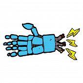 retro comic book style cartoon robot hand