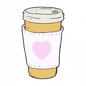 retro comic book style cartoon I love coffee cup