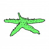 retro comic book style cartoon starfish