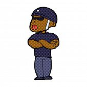 retro comic book style cartoon security guard