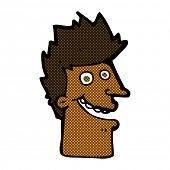 retro comic book style cartoon happy man face